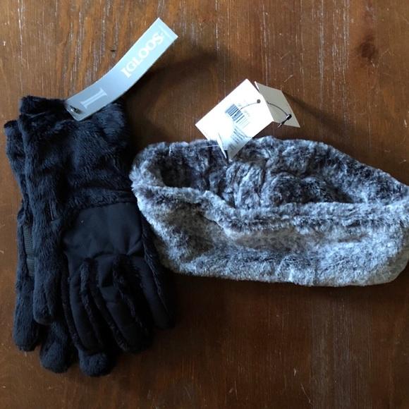 8d97193083e Calvin Klein Faux Fur Headband and Gloves